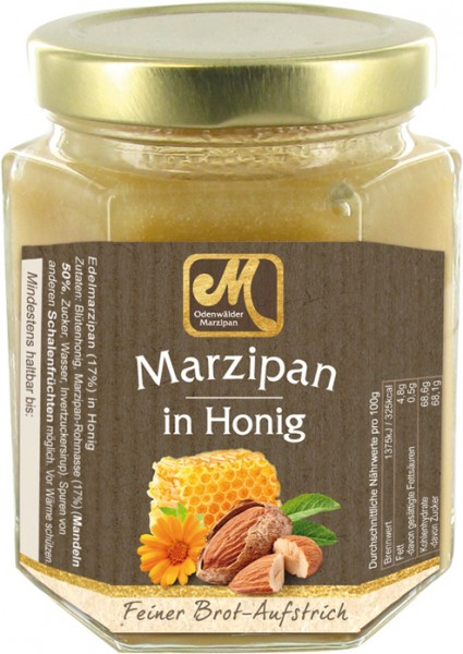 Honey with marzipan - almond paste