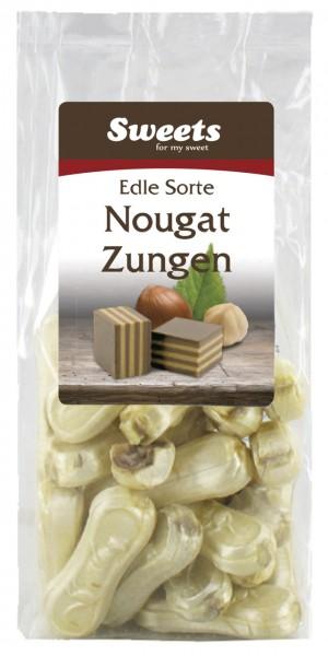 Nougat tongues with nougat filling