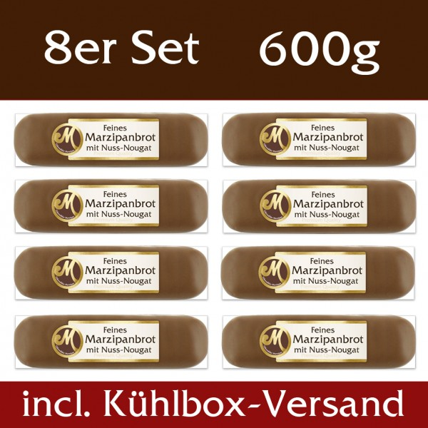 Marzipanbrot mit Nougatkern 8er Set - incl. Kühlbox Versand