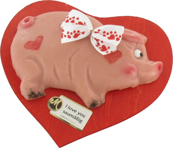 Pig on a heart-shaped plate